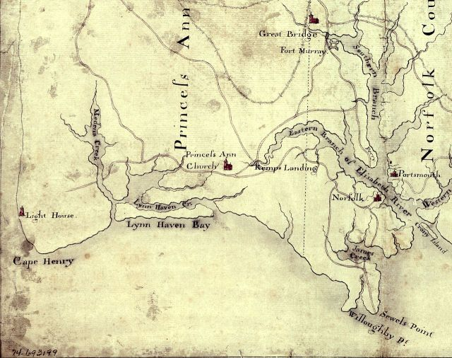 1775 Map of Southeast Virginia; Great Bridge seen at the top and Norfolk in bottom right